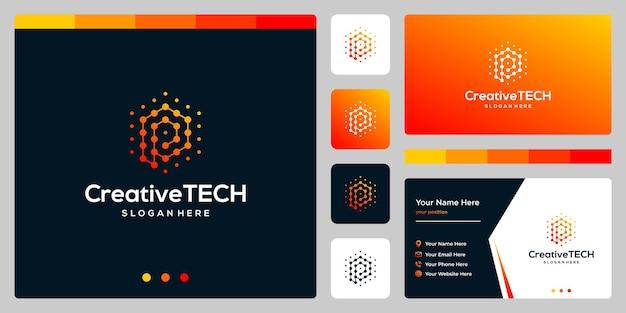 Resumen de la letra p inicial del logotipo de inspiración con estilo tecnológico y color degradado. plantilla de tarjeta de visita