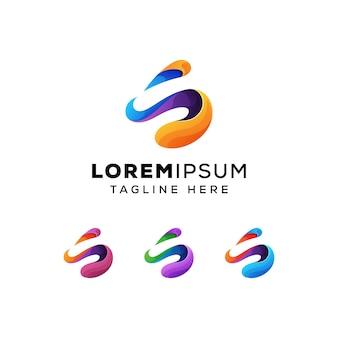 Resumen letra s con i concepto logo premium vector