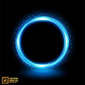 Resumen línea azul de luz con chispas azules.
