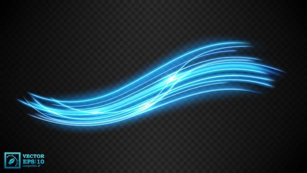 Resumen línea ondulada de luz azul