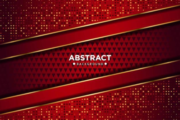 Resumen línea de oro rojo oscuro que se superponen formas geométricas con puntos de brillos fondo de tecnología futurista de lujo moderno