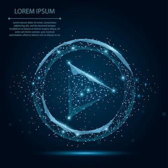 Resumen línea de puré y punto azul icono de video juego de estrellas