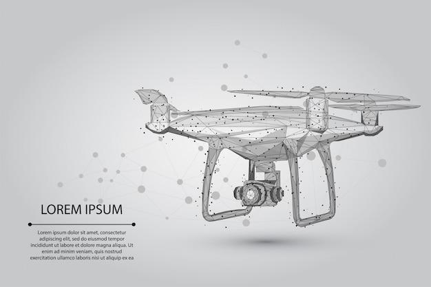 Resumen línea de puré y punto quadrocopter drone volador poligonal low poly 3d