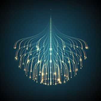 Resumen líneas brillantes de malla de fondo. bioluminiscencia de tentáculos. tarjeta de estilo futurista.