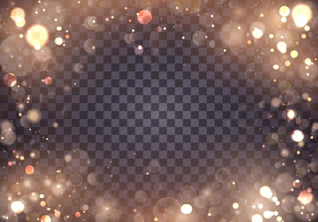 Resumen de luces brillantes bokeh brillantes. bokeh efecto de luces aislado sobre fondo transparente. fondo luminoso festivo púrpura y dorado. concepto. marco de luz borrosa.