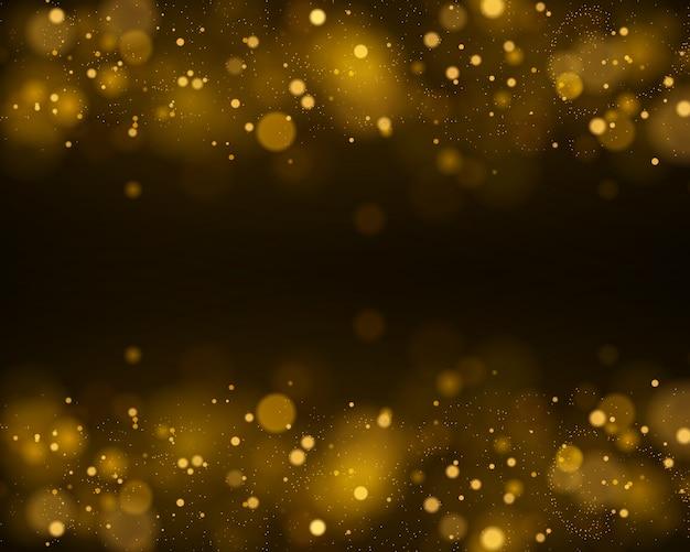 Resumen de luces brillantes bokeh brillantes. efecto de luces bokeh aislado sobre fondo negro transparente. fondo luminoso festivo púrpura y dorado.