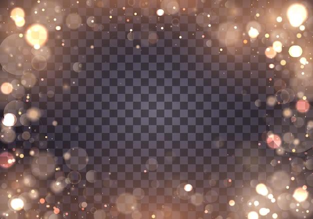 Resumen de luces brillantes bokeh brillantes. efecto de luces bokeh aislado sobre fondo transparente. fondo luminoso festivo púrpura y dorado. concepto. marco de luz borrosa.