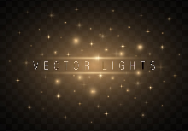Resumen luces brillantes de luz sobre fondo transparente