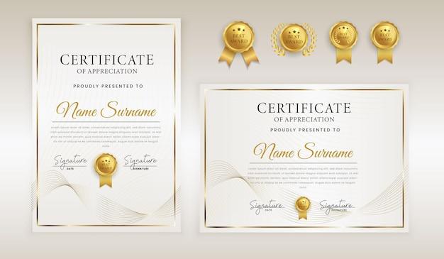 Resumen de lujo blanco y dorado certificado de reconocimiento reconocimiento insignia de línea ondulada dorada y borde en plantilla a4