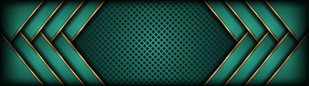 Resumen lujoso verde oscuro con fondo de capa de superposición de oro