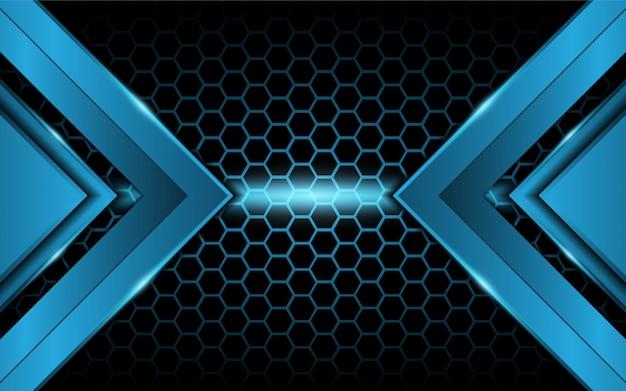 Resumen luz azul sobre fondo hexagonal