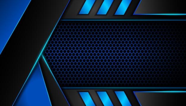 Resumen luz azul sobre fondo oscuro hexágono