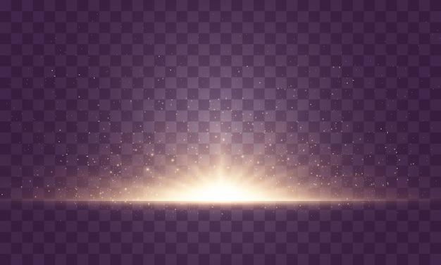 Resumen luz dorada aislada. brillantes rayos de luz. líneas brillantes