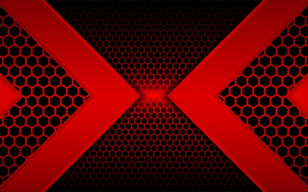Resumen luz roja con fondo hexagonal