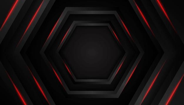 Resumen luz roja del hexágono sobre fondo oscuro.