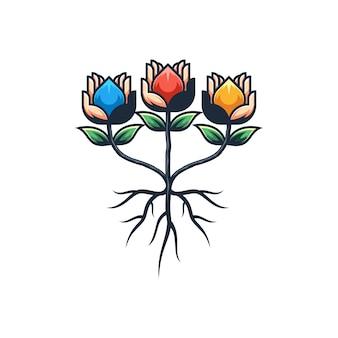 Resumen mano flor ilustración vectorial diseño plantilla