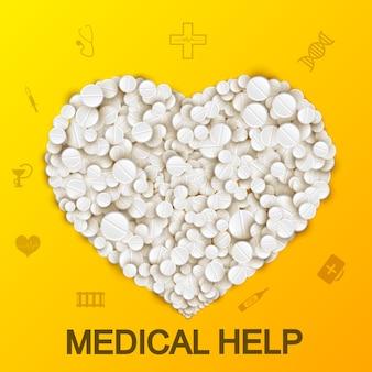 Resumen médico con corazón formando píldoras y drogas en amarillo