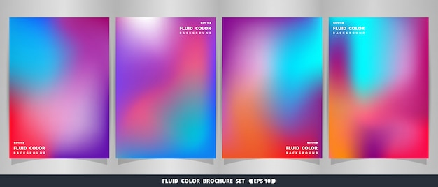 Resumen de moderno fluido colorido conjunto de folletos