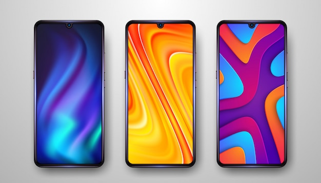 Resumen, moderno fondo de pantalla de teléfono móvil con tres opciones.