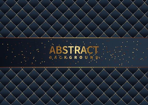 Resumen moderno de gradiente de lujo plantilla azul oscuro y patrón con fondo de decoración de brillos dorados