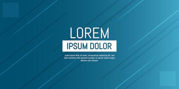 Resumen moderno de líneas azules y turquesas con sombra sobre fondo degradado