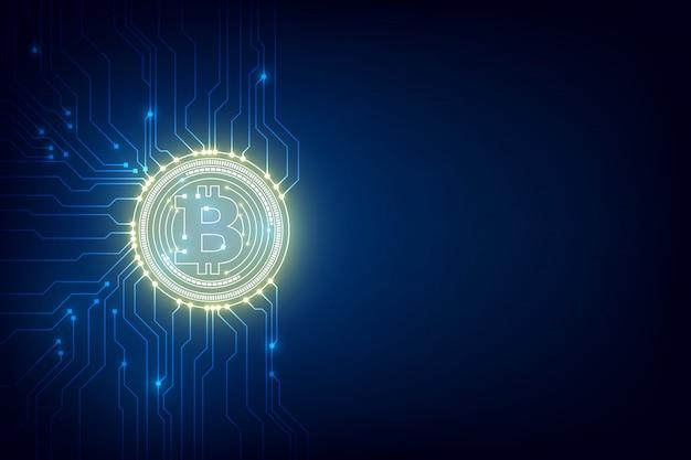 Resumen moneda digital bitcoin con fondo blockchain