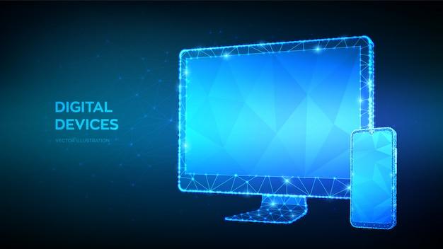 Resumen monitor de la computadora y el teléfono inteligente con pantalla vacía en blanco. dispositivos informáticos modernos digitales poligonales en 3d.