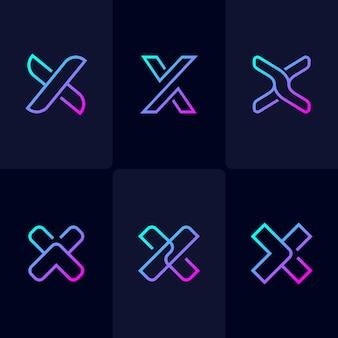 Resumen monoline letra x logo set