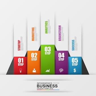 Resumen negocio digital 3d infografía. puede ser utilizado para el proceso de flujo de trabajo, escalera de negocios