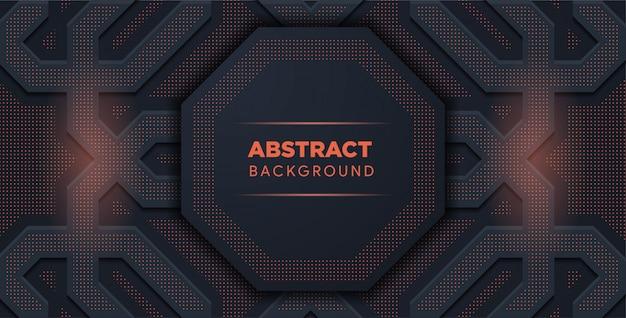 Resumen negro y rojo. formas geométricas, octágono. resumen de medios tonos de luz.