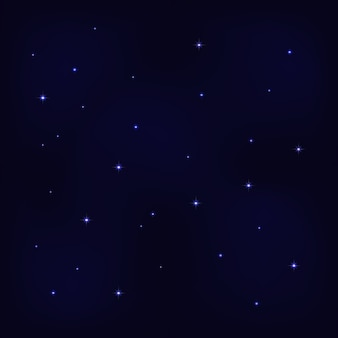Resumen noche cielo estrellado sobre fondo azul oscuro con estrellas brillantes.