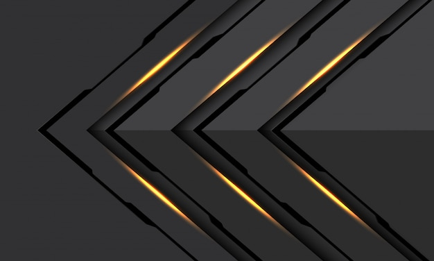 Resumen oro luz negra línea ciber flecha dirección gris oscuro metálico futurista tecnología fondo.