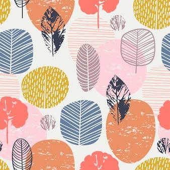 Resumen otoño de patrones sin fisuras con hojas.