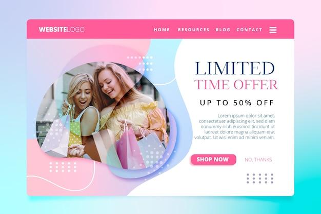 Resumen página de aterrizaje de ventas con imagen