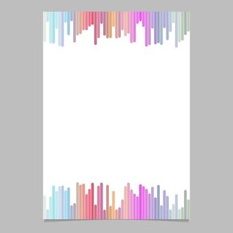 Resumen página plantilla de rayas verticales - ilustración vectorial folleto con fondo blanco