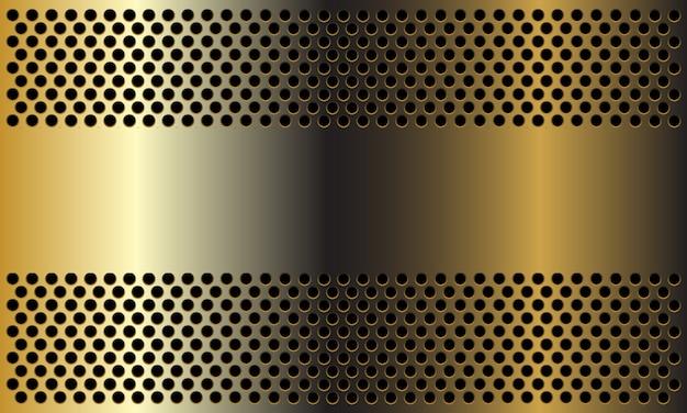 Resumen pancarta dorada sobre fondo de malla círculo diseño moderno lujo