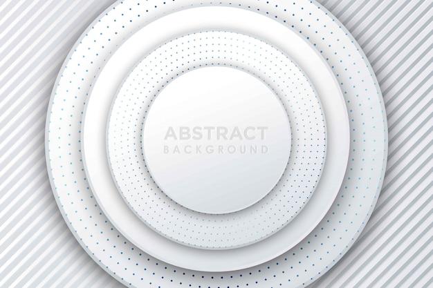 Resumen papel blanco corte de fondo. decoración de corte de papel en capas realista abstracto con textura con patrón de semitono grabado. telón de fondo 3d con capas de forma circular.