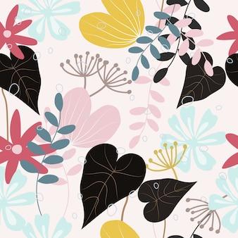 Resumen patrón floral de fondo sin fisuras