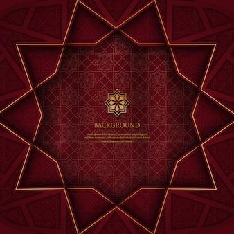 Resumen patrón geométrico poligonal con adornos de oro sobre fondo rojo.