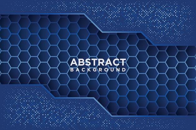 Resumen patrón hexagonal con superposición azul.