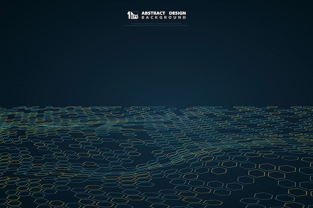 Resumen patrón hexagonal de tecnología azul sobre fondo azul oscuro degradado.