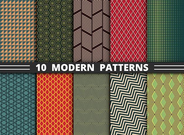Resumen patrón moderno de estilo geométrico colorido conjunto