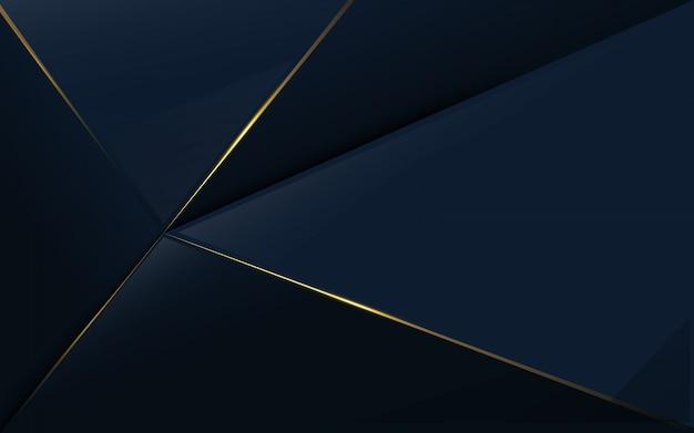 Resumen patrón poligonal de lujo azul y fondo de oro
