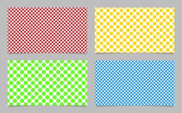Resumen patrón de puntos tarjeta de presentación conjunto de patrones de diseño - ilustración vectorial tarjeta de identificación con círculos de color