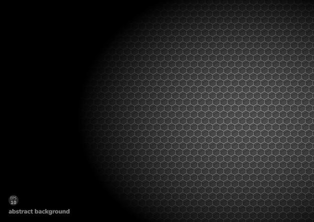 Resumen patrón de rayas hexagonal sobre fondo oscuro.