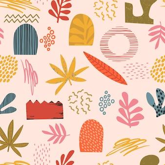Resumen de patrones artísticos sin fisuras con texturas dibujadas a mano de moda