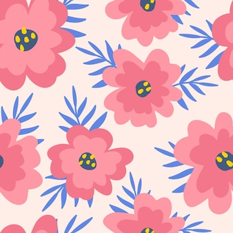 Resumen de patrones sin fisuras con amapolas, flores y hojas.