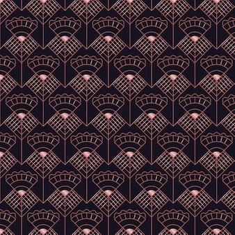 Resumen de patrones sin fisuras art deco de oro rosa oscuro