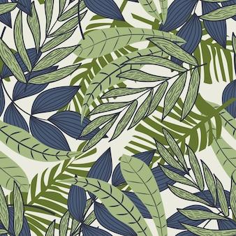 Resumen de patrones sin fisuras con coloridas hojas tropicales y plantas sobre fondo beige