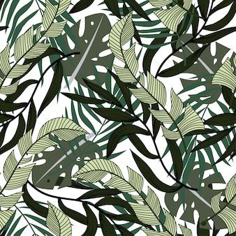 Resumen de patrones sin fisuras con coloridas hojas tropicales y plantas sobre fondo blanco